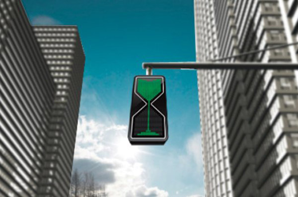 theatlantic :      A designer imagines  hourglass-inspired traffic lights .        I can't resist a piece on the reinvention of ordinary objects, and this is an exemplar design. While it doesn't really need an explanation, here it is anyway:        Using LEDs to mimic the trickle down effect of the sand-filled glass, these lights provide a quick visual cue for how long you have before the color changes.      It's especially important to note the use of LEDs for the stoplight, which for current stoplights has been a terribly slow implementation by counties.