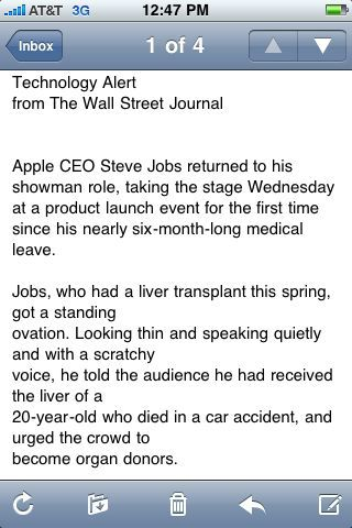 Apparently this is breaking news worthy of an alert email.    Steve ftw.