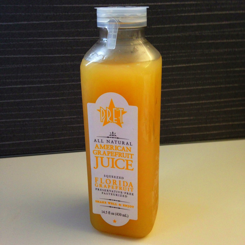 Freshly prepared (apparently) and freshly purchased: Pret's American Grapefruit Jucie