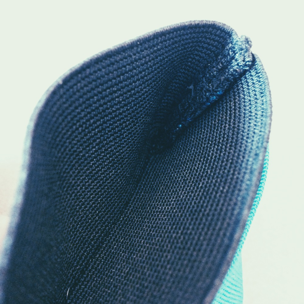 Inside seam of the Snapback Slim wallet.