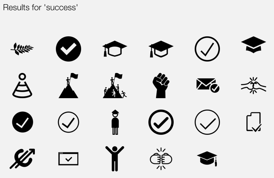 "The Noun Project -- icon search results for ""success"""
