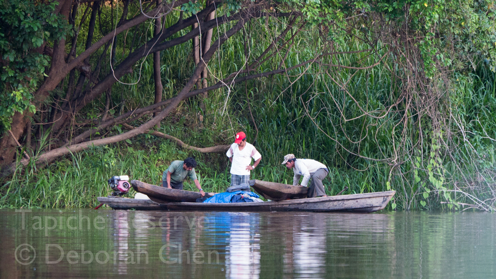 The poachers reluctantly pack up to leave as we watch. When the water is high, they travel the river with the bigger boat and enter into small creeks or directly into the flooded forest with the smaller canoes.
