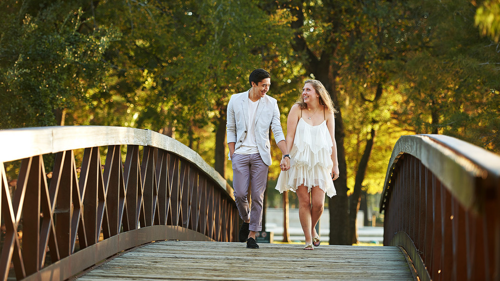Stephanie Timothy engagement photo session at Hermann Park and