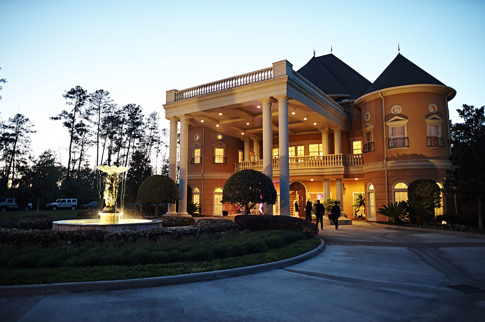 Night view of Chateau Polonez in Cypress, TX