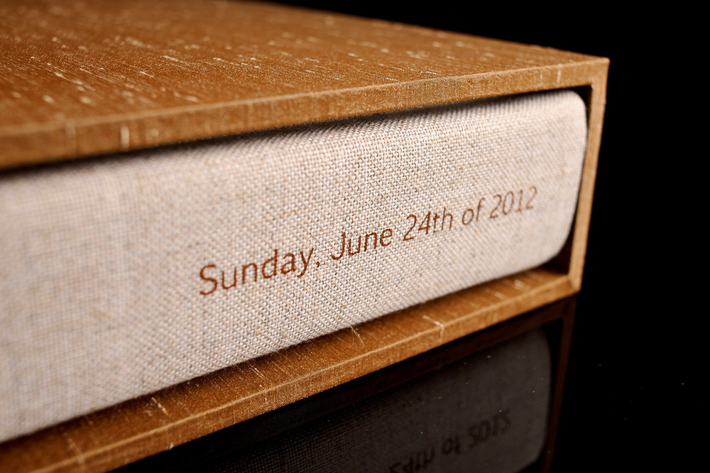 Wedding album made with cocoa shantung silk 2