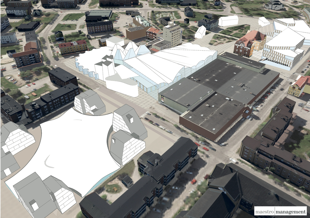 Overview of the proposed center of Gällivare. It is based on the vision of bringing education, culture and sports activities into the town center and to connect them with public, social spaces. In the middle is the multi-activitty building for sport, culture, pool and other activities, with ice rink hidden behind housing on the left/below. A knowledge building with high school and other educations is at the top right. The multi-activity building is a block under a common roof with indoor streets. The program is approx. 38 000 sq. m building area.
