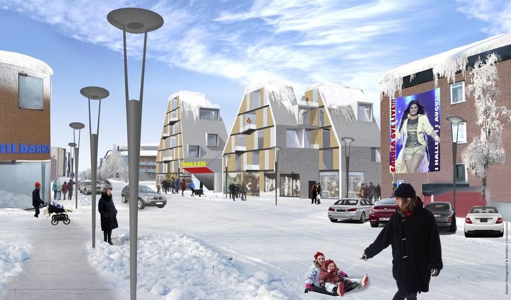 En arena kan placeras diagonalt på en tomt, med bostäder, butiker och kontor i hörnen. Arenan kan då läggas i centrum utan att skapa döda fasader och gator..