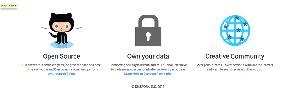 Diaspora. An open-source social network. Make some new friends.