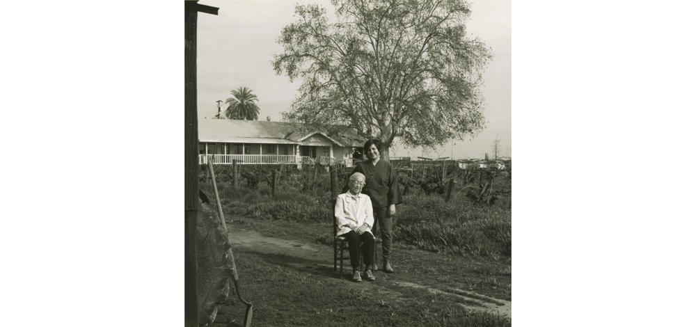 Nikiko Masumoto stands behind her grandmother, Carole Yukino Sugimoto Masumoto on the Masumoto Family Farm in Del Rey, California.