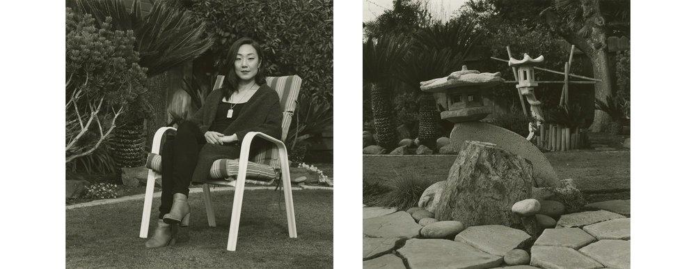 Brynn Saito in her father's garden in Fresno, California.