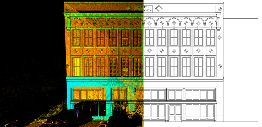 Waters Building Laser Scan image (left) transformed into CAD drawing (right)