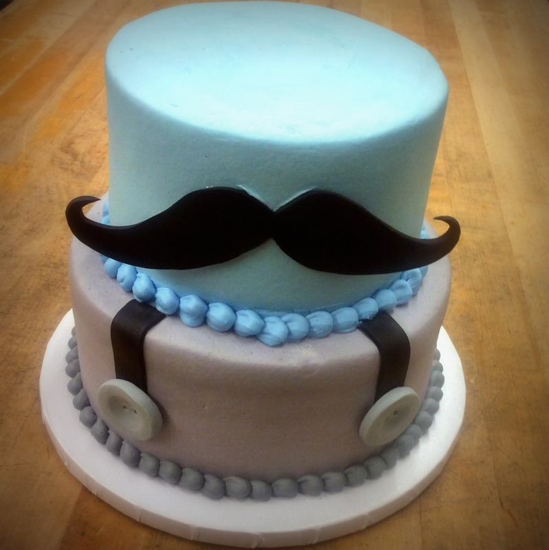 Party Cake with Mustache and Suspenders