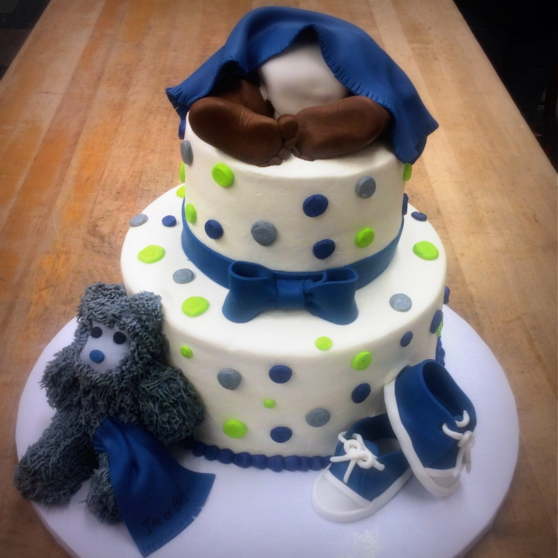 Baby Boy Party Cake with Shoes and Teddy