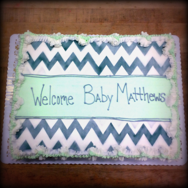 Baby Shower Cake with Airbrush Chevron