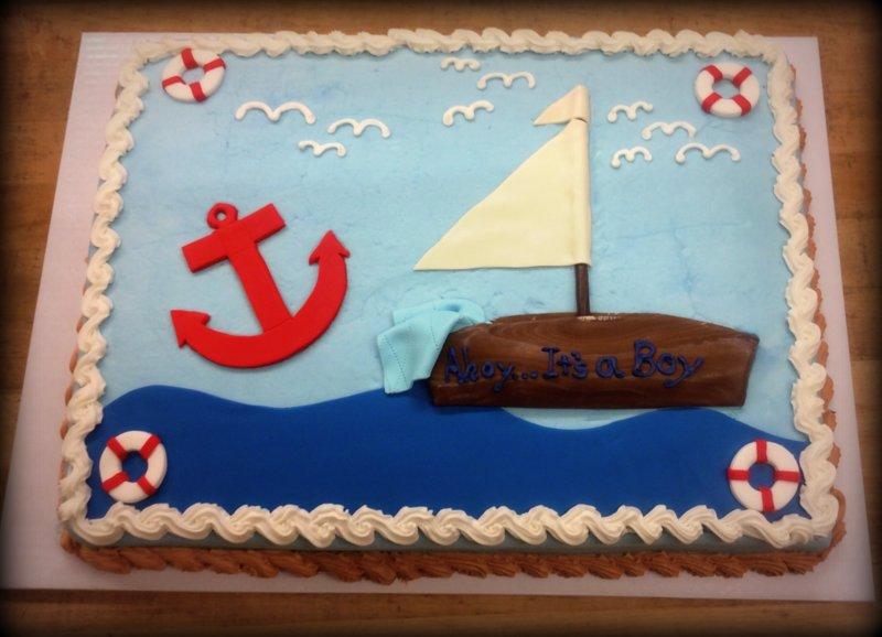 Marvelous Nautical Theme Baby Shower Cake