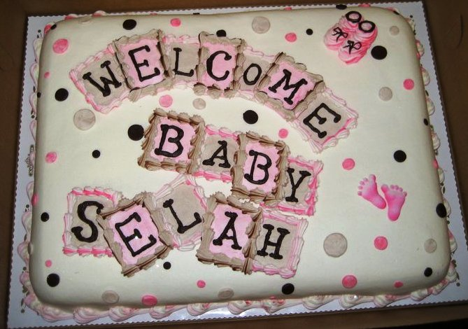 Baby Shower Cake with Pink Blocks