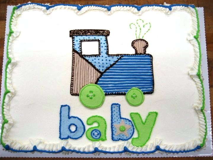 Baby Shower Cake with Piped Train
