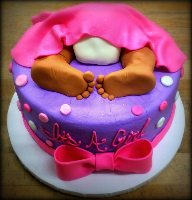 Pink and Purple Baby Bum Cake