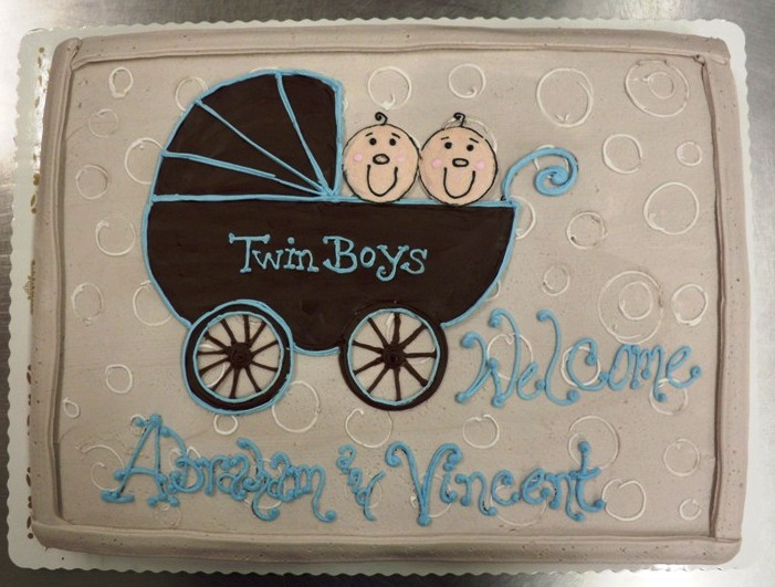 Baby Shower Cake with Brown Stroller