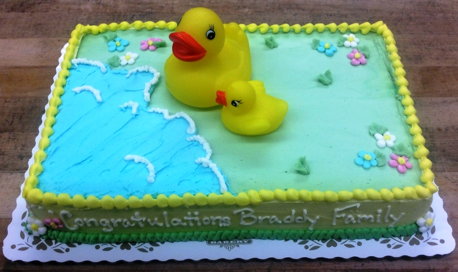 Baby Shower Cake with Two Ducks