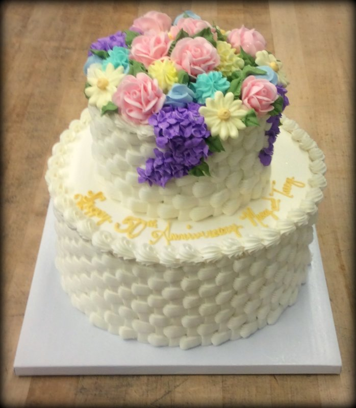 Anniversary Party Cake with Basketweave Decoration