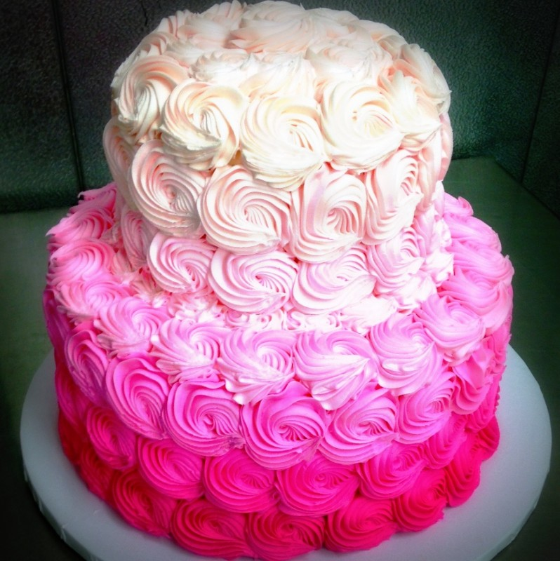 Pink Ombre Rosette Party Cake