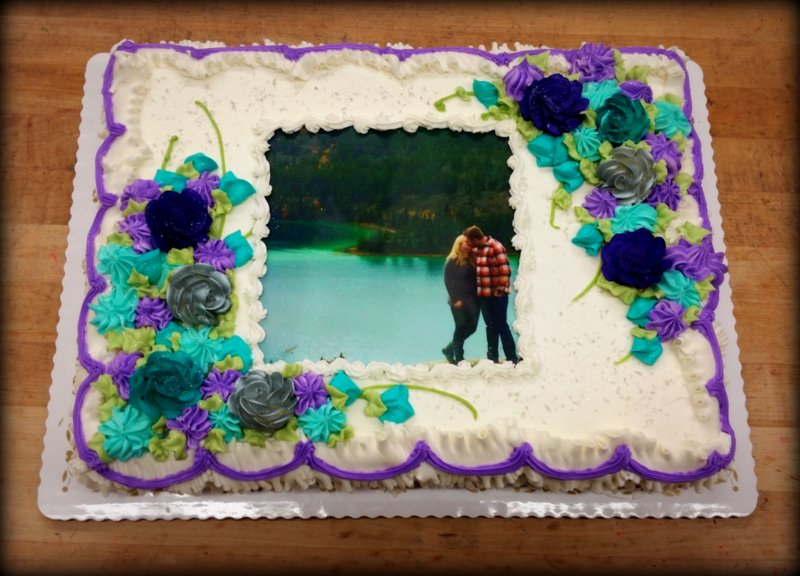 Sheet Cake with  Photoscan and Flowers