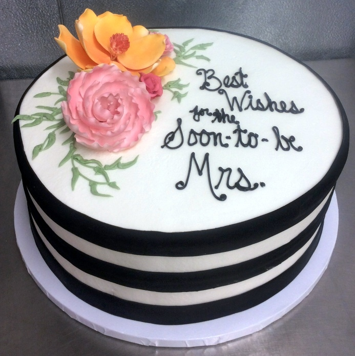 Round Bridal Shower Cake with Big Flowers