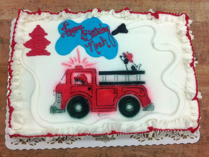 Fire Truck and Hydrant on a Sheet Cake