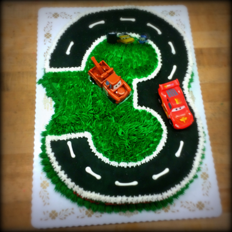 Number Shaped Cake with Cars