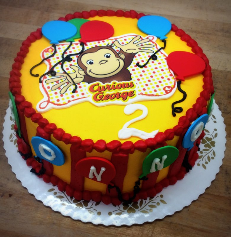 Curious George Round Cake with Balloons