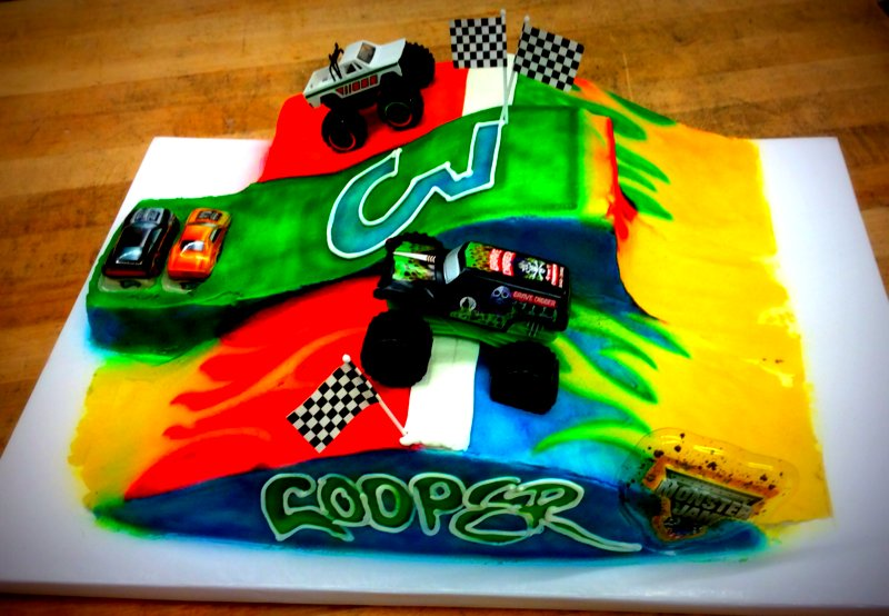 Monster Truck Carved Cake
