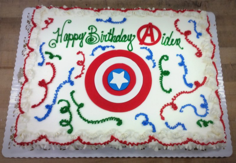 Sheet Cake with Captain America Shield