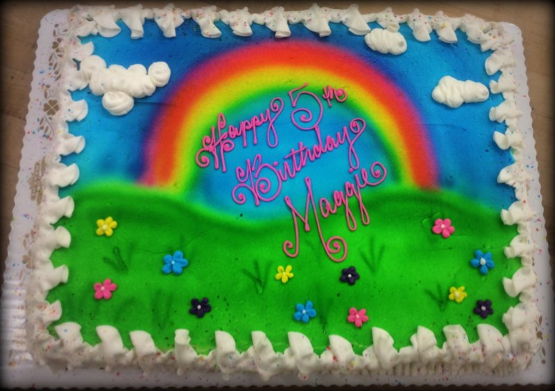Sheet Cake with Sprayed Rainbow and Daisies