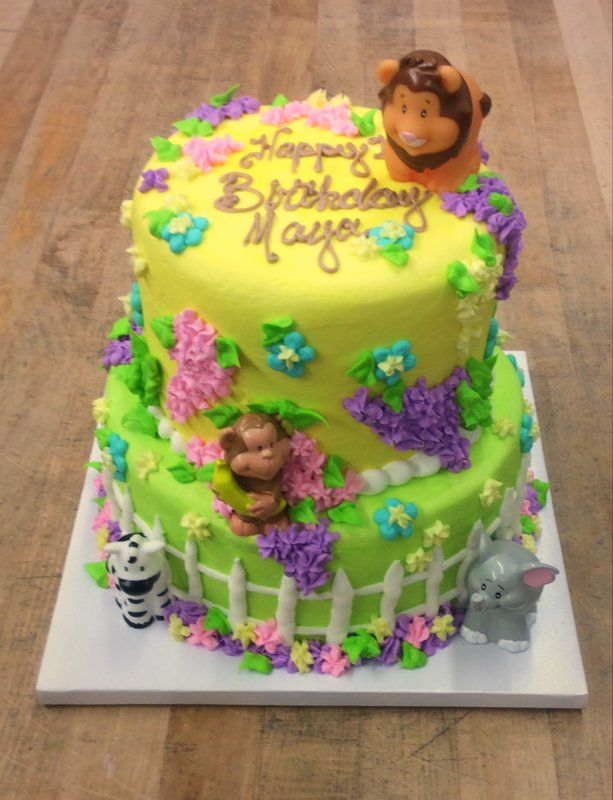 Zoo Theme Party Cake with Flowers