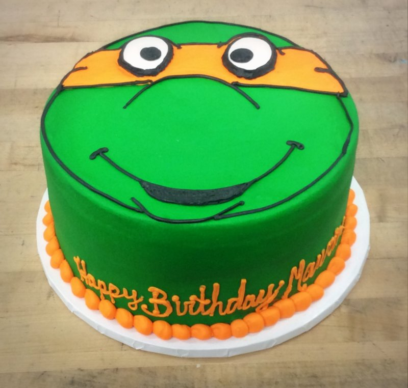 TMNT Round Cake with Michelangelo Face