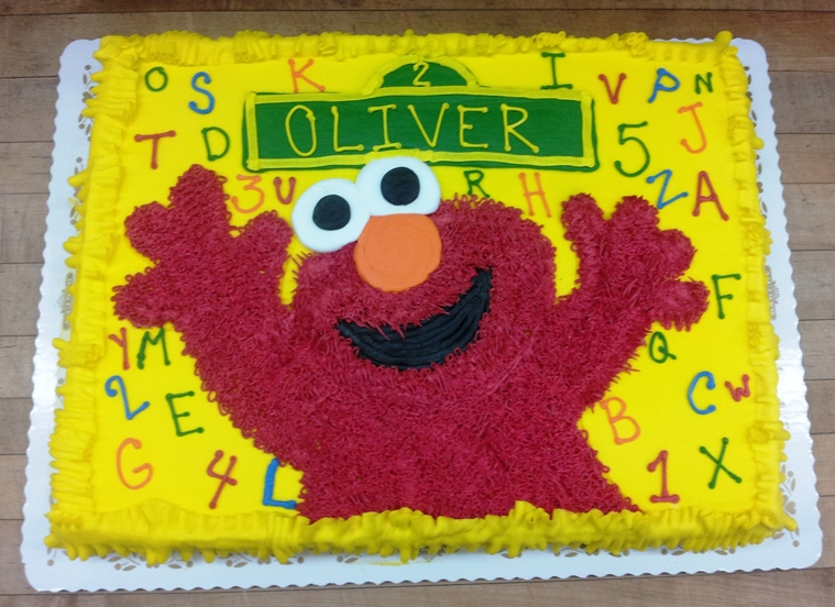 Elmo on Yellow Sheet Cake
