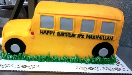 School Bus Shaped Cake