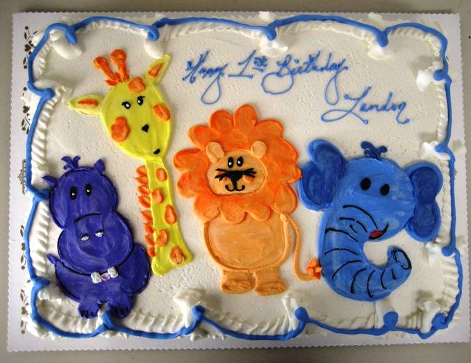 Sheet Cake with Piped Jungle Animals