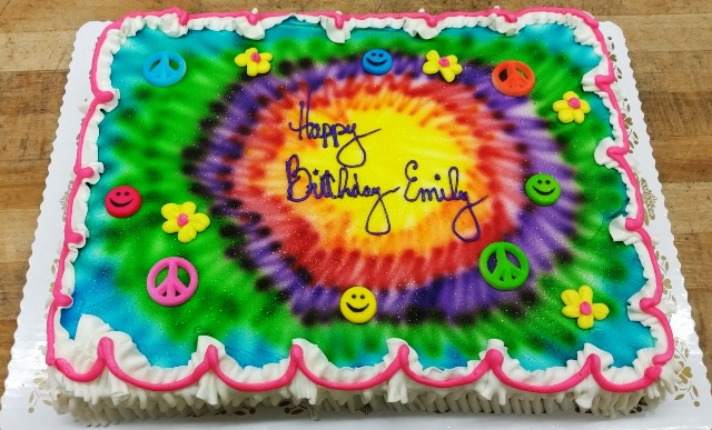 Tie Dye Sheet Cake with Peace Signs and Happy Faces