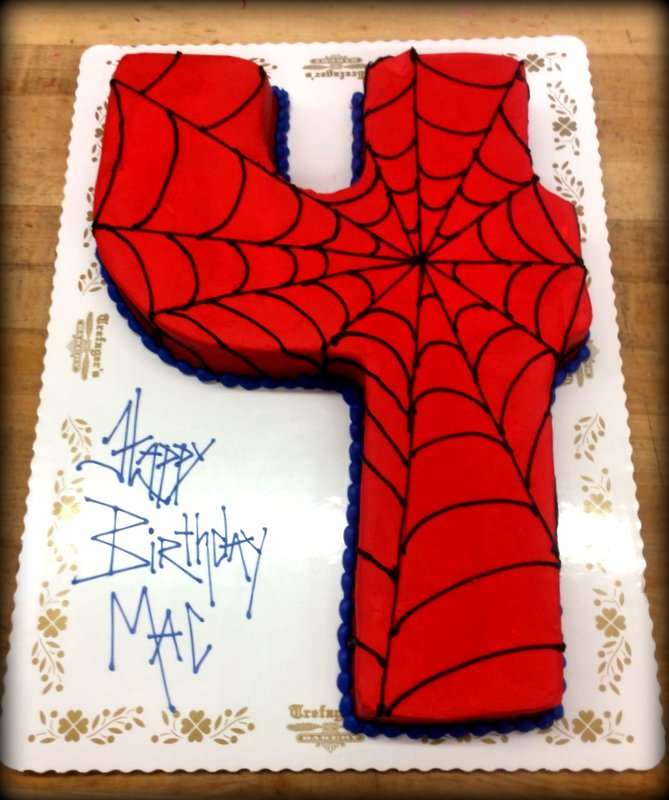 Spider-Man Number Shaped Cake