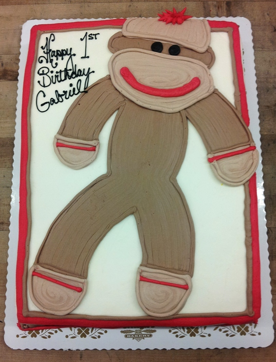 Sock Monkey Sheet Cake