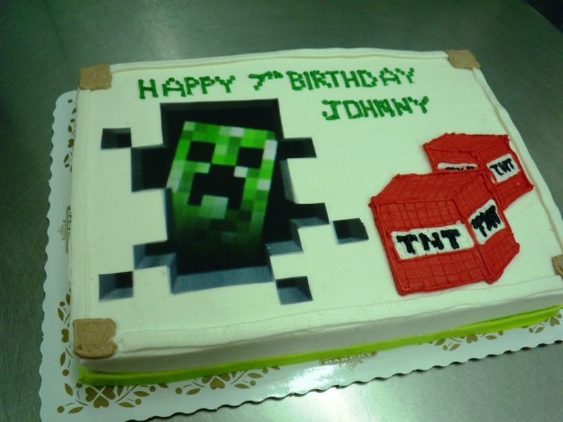 Minecraft Sheet Cake with Creeper Photoscan and TNT Blocks