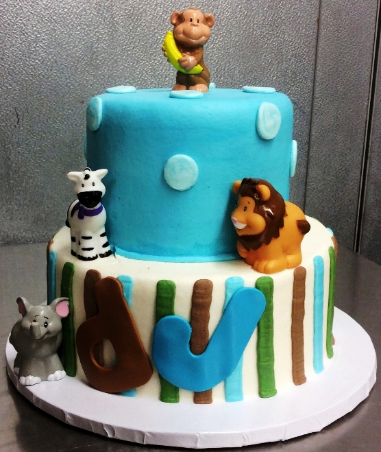 Party Cake with Baby Jungle Animals