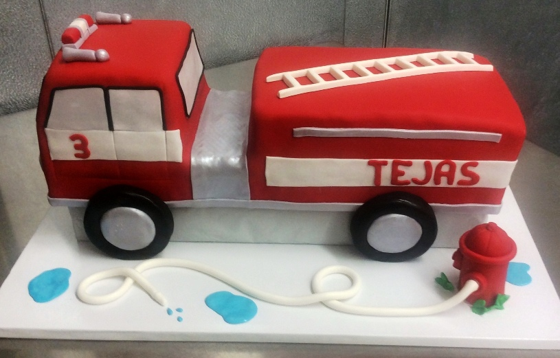 Fire Truck Shaped Cake