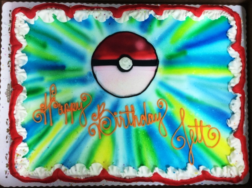 Pokemon Sheet Cake with Airbrushed Pokeball