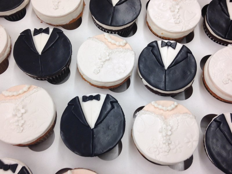 Wedding Dress and Tux Cupcakes
