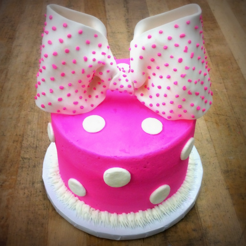 Smash Cake with Bow and Polka Dots