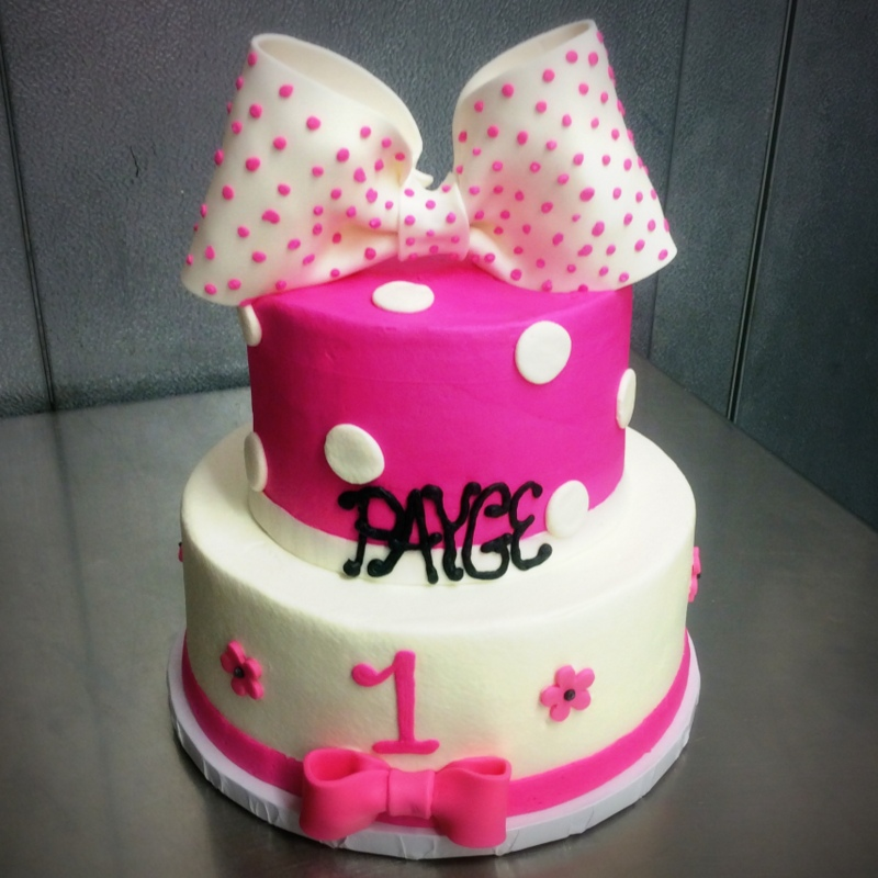 Pink Party Cake with Bow and Polka Dots