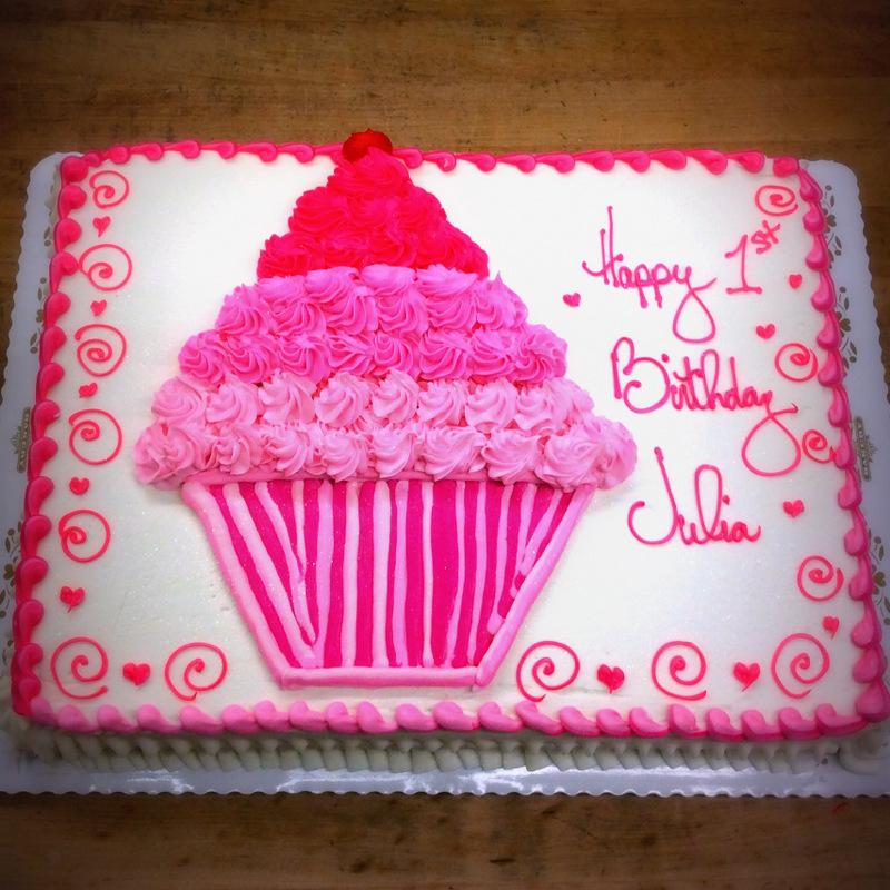 Sheet Cake with Pink Cupcake